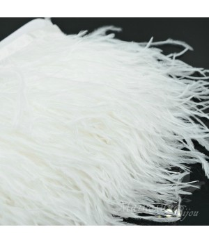 Перья страуса на ленте White, 10см