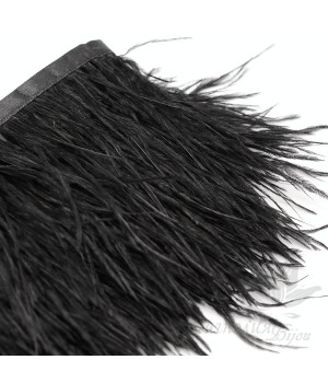 Перья страуса на ленте Black, 10см