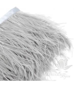Перья страуса на ленте  Grey, 10см