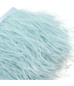 Перья страуса на ленте  Light Blue, 10см