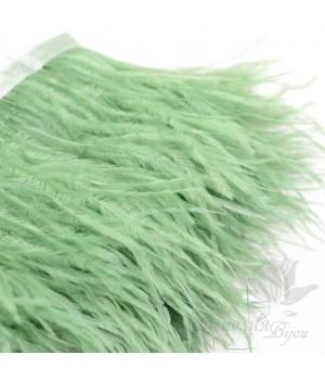 Перья страуса на ленте  Light Green, 10см