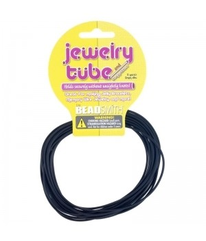 Ювелирный полый резиновый шнур 2мм черный, моток 2.75м
