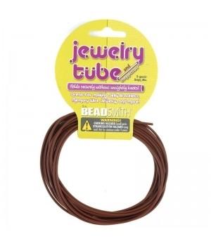Ювелирный полый резиновый шнур 2мм коричневый, моток 2.75м
