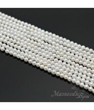 Жемчуг Майорка белый 4мм, полная нить(105 бусин)