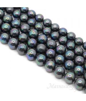 Жемчуг Майорка чёрный павлин 10мм, полная нить(40 бусин)
