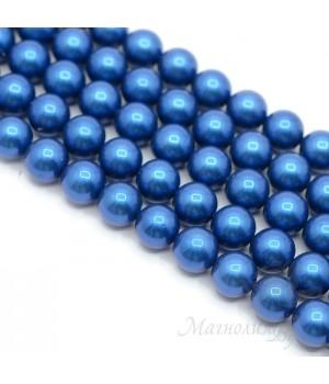 Жемчуг Майорка, королевский синий 10мм, полная нить(40 бусин)