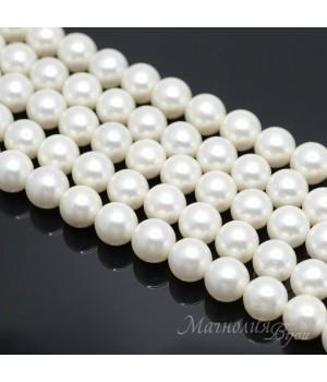 Жемчуг Майорка, белый 10мм, полная нить(40 бусин)