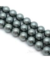 Жемчуг Майорка темно-серый фактурный 14мм, полная нить(28 бусин)
