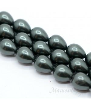 Жемчуг Майорка 12:16мм чёрный капля, полная нить(25 бусин)