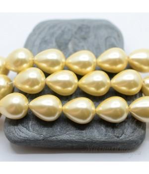 Жемчуг Майорка 12:16мм золотистый капля, 1 штука