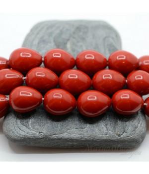 Жемчуг Майорка 12:16мм красный капля, 1 штука