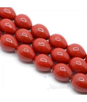 Жемчуг Майорка 12:16мм красный капля, полная нить(25 бусин)