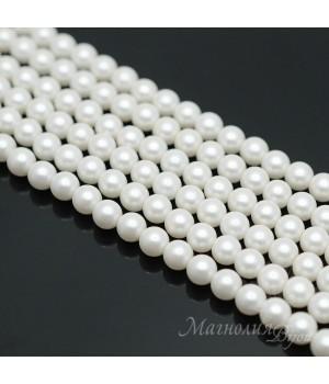 Жемчуг Майорка 6мм белый матовый сатин, полная нить(65 бусин)