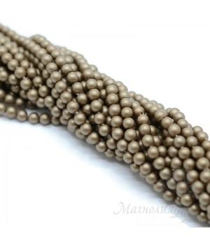Жемчуг Майорка 4мм темный тан матовый сатин, полная нить(95 бусин)