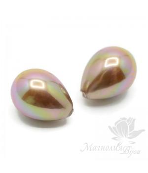 Жемчуг Shell Pearl 12:16мм полупросверленная капля, коричнево-розовый(умбра)