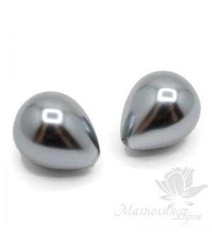 Жемчуг Shell Pearl 14:16мм полупросверленная капля, серый