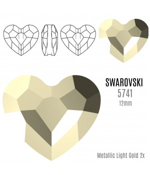 5741 Бусина Love Bead 12мм, цвет Metallic Light Gold 2x