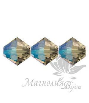 Биконусы Swarovski 6мм BLACK DIAMOND SHIMMER, 10 штук