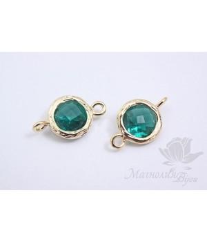 """КОННЕКТОР """"Emerald gloss"""", позолота 14 карат"""