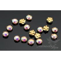 Chaton Rose Montees 4мм(SS16), crystal AB gold