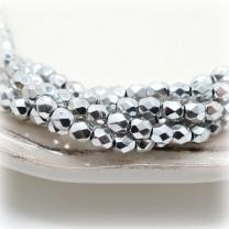 Чешские граненые бусины Bright Silver 4мм, 10 штук