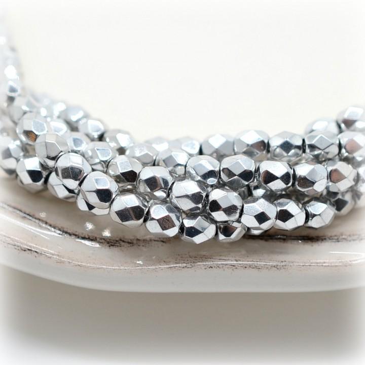 Чешские граненые бусины Bright Silver 4мм, 20 штук