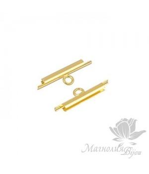 Концевик-слайдер Miyuki для бисерного полотна 15мм, 2 шт. позолота