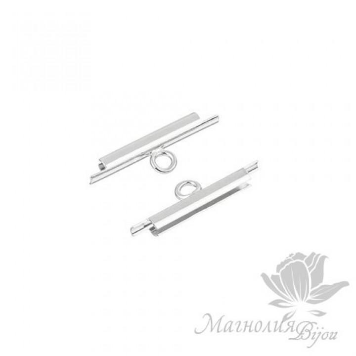 Концевик-слайдер Miyuki для бисерного полотна 15мм, 2 шт. родиевое покрытие