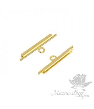 Концевик-слайдер Miyuki для бисерного полотна 20мм, 2 шт. позолота