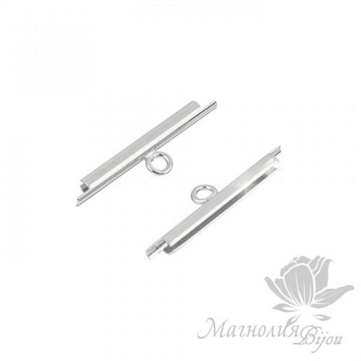 Концевик-слайдер Miyuki для бисерного полотна 20мм, 2 шт. родиевое покрытие