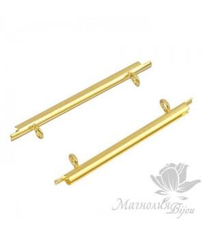 Концевик-слайдер Miyuki для бисерного полотна 35мм, 2 шт.  позолота