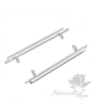Концевик-слайдер Miyuki для бисерного полотна 35мм, 2 шт. родиевое покрытие