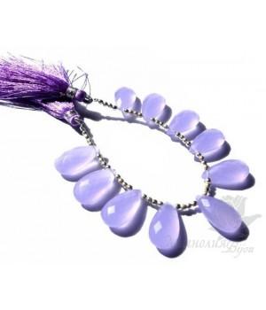 ХАЛЦЕДОН лаванда, граненый бриолет 10 : 20мм
