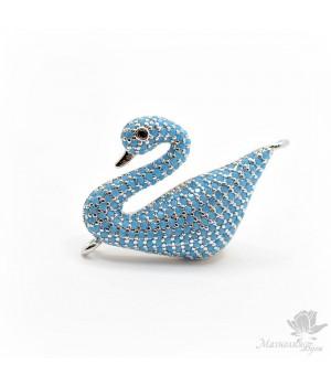 """Коннектор """"Лебедь"""" с голубыми фианитами, цвет платина"""