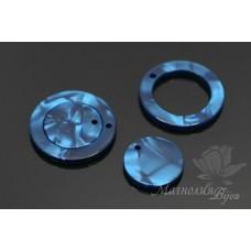 """КОМПЛЕКТ подвесок """"Кольцо и диск, синие"""", ацетат целюлозы(пластик)"""