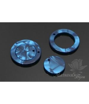 """Комплект подвесок """"Кольцо и диск, синие"""", ацетат целлюлозы(пластик)"""