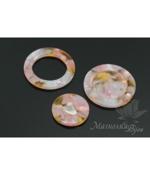 """Комплект подвесок """"Кольцо и диск, розовые"""", ацетат целюлозы(пластик)"""