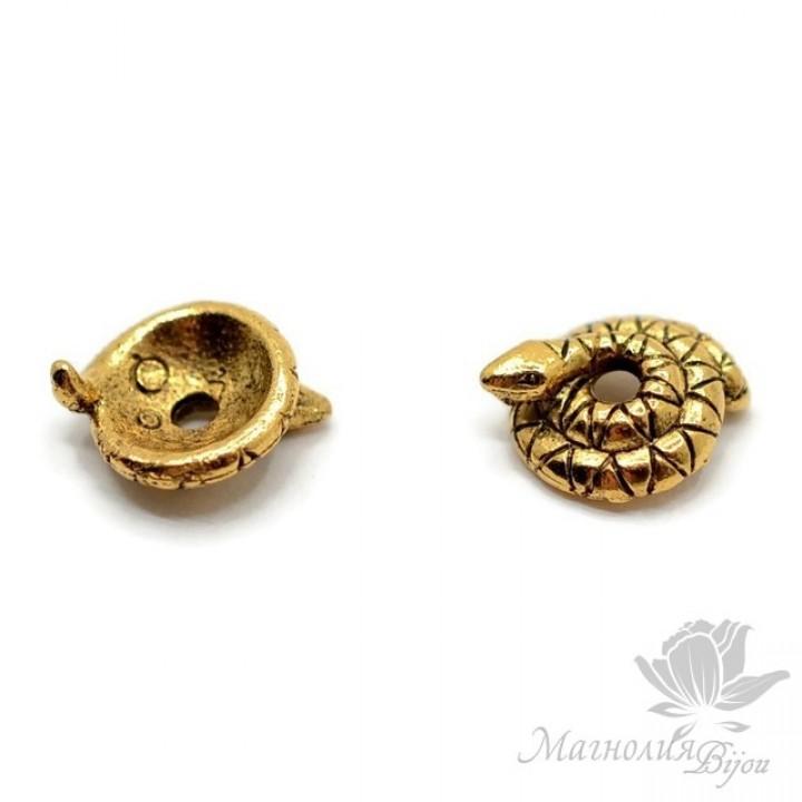 """ШАПОЧКА для бусин """"Змейка"""" 8мм, античное золото"""