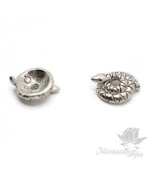 "Шапочка для бусин ""Змейка 8мм"", античное серебро"