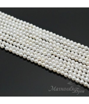ЖЕМЧУГ Майорка, белый, глянцевый 4мм, полная нить(105 бусин)