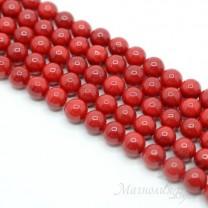 ЖЕМЧУГ Майорка, тёмно-красный 8мм, полная нить(49-50 бусин)