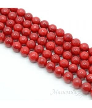 Жемчуг Майорка красный 8мм, полная нить(50 бусин)
