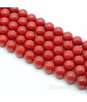 Жемчуг Майорка красный 10мм, полная нить(40 бусин)