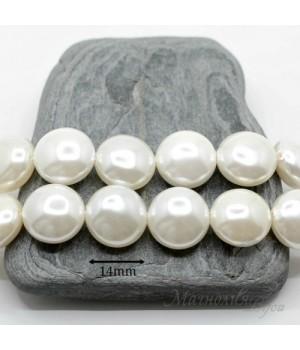 Жемчуг Майорка 14:8мм белый таблетка, 1 штука