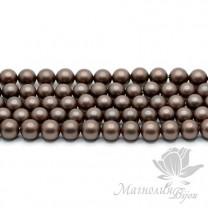 ЖЕМЧУГ Майорка, горький шоколад, матовый сатин 6мм, 5 штук