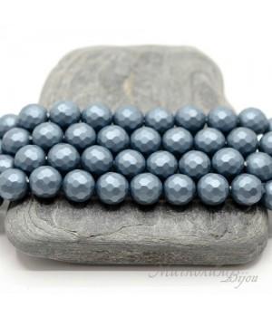 Жемчуг Майорка 8мм граненый матовый стальной синий, 10 штук