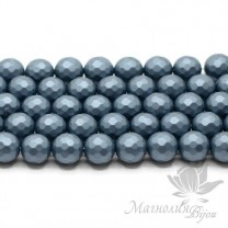 """ЖЕМЧУГ Майорка, граненый 10мм, цвет """"steel blue"""", 5 штук"""