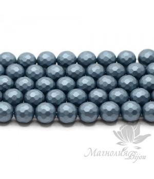 Жемчуг Майорка 10мм граненый матовый стальной синий, 5 штук