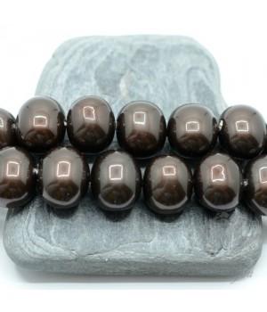 "ЖЕМЧУГ Майорка, форма ""боб"" 13мм : 15мм, чёрный шоколад"