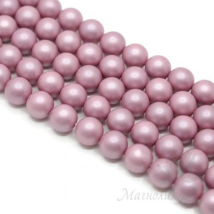 ЖЕМЧУГ Майорка, розовый фламинго, матовый сатин 10мм, полная нить(40 бусин)